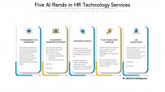 Five AI Rends In HR Technology Services Ppt Model Background Image PDF