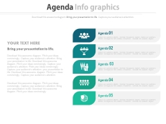 Five Agenda Steps With Icons Powerpoint Slides