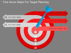 Five Arrow Steps For Target Planning Powerpoint Template