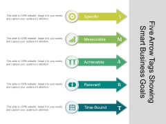 Five Arrow Tags Showing Smart Business Goals Ppt PowerPoint Presentation Slides Styles PDF