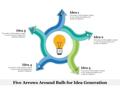 Five Arrows Around Bulb For Idea Generation Ppt PowerPoint Presentation File Gallery PDF