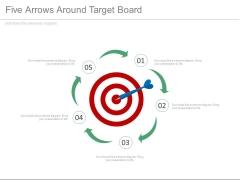 Five Arrows Around Target Board Powerpoint Slides