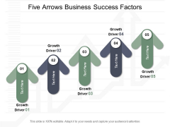 Five Arrows Business Success Factors Ppt Powerpoint Presentation Infographics Icons
