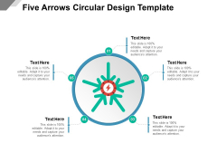 Five Arrows Circular Design Template Ppt PowerPoint Presentation File Themes PDF