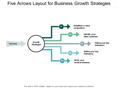 Five Arrows Layout For Business Growth Strategies Ppt PowerPoint Presentation Infographic Template Samples