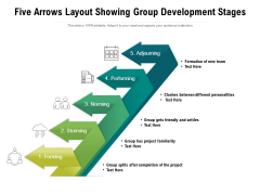 Five Arrows Layout Showing Group Development Stages Ppt PowerPoint Presentation Icon