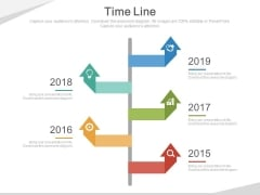Five Arrows Signboard Style Timeline Diagram Powerpoint Slides