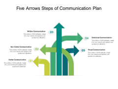 Five Arrows Steps Of Communication Plan Ppt PowerPoint Presentation File Structure