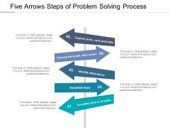 Five Arrows Steps Of Problem Solving Process Ppt PowerPoint Presentation Ideas Layout