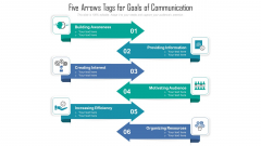 Five Arrows Tags For Goals Of Communication Ppt PowerPoint Presentation File Maker PDF