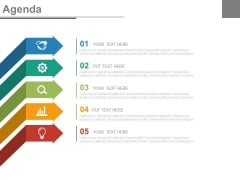 Five Arrows With Icons To Present Business Agenda Powerpoint Slides