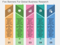 Five Banners For Global Business Research Powerpoint Template