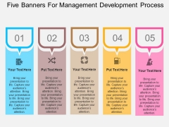 Five Banners For Management Development Process Powerpoint Template