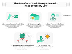 Five Benefits Of Cash Management With Keep Inventory Low Ppt PowerPoint Presentation Gallery Graphics PDF