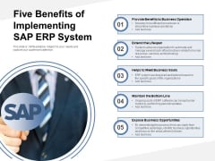 Five Benefits Of Implementing SAP ERP System Ppt PowerPoint Presentation Professional Example Introduction PDF