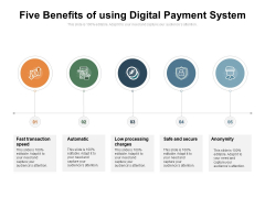 Five Benefits Of Using Digital Payment System Ppt PowerPoint Presentation Gallery Summary PDF