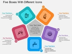 Five Boxes With Different Icons Powerpoint Template