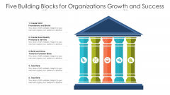 Five Building Blocks For Organizations Growth And Success Ppt PowerPoint Presentation Icon Ideas PDF