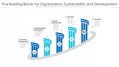 Five Building Blocks For Organizations Sustainability And Development Ppt PowerPoint Presentation File Background PDF