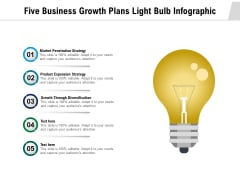 Five Business Growth Plans Light Bulb Infographic Ppt PowerPoint Presentation Inspiration Design Ideas PDF