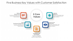 Five Business Key Values With Customer Satisfaction Ppt PowerPoint Presentation File Slide PDF