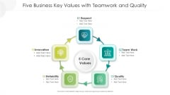 Five Business Key Values With Teamwork And Quality Ppt PowerPoint Presentation Gallery Shapes PDF