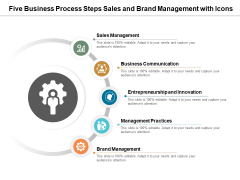 Five Business Process Steps Sales And Brand Management With Icons Ppt PowerPoint Presentation Ideas Inspiration