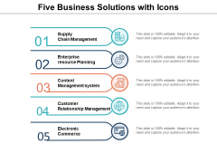 Five Business Solutions With Icons Ppt PowerPoint Presentation Pictures Graphics Template