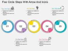Five Circle Steps With Arrow And Icons Powerpoint Template