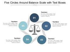 Five Circles Around Balance Scale With Text Boxes Ppt Powerpoint Presentation Summary Slide Download