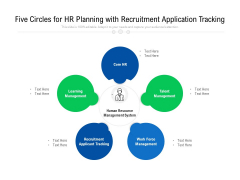 Five Circles For HR Planning With Recruitment Application Tracking Ppt PowerPoint Presentation Gallery Portfolio PDF