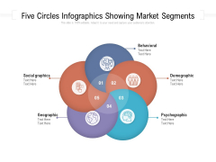 Five Circles Infographics Showing Market Segments Ppt PowerPoint Presentation File Demonstration PDF