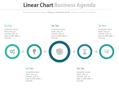 Five Circles Linear Chart With Icons Powerpoint Slides
