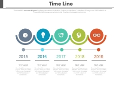 Five Circles Linear Timeline Chart With Icons Powerpoint Slides