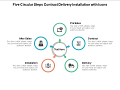 Five Circular Steps Contract Delivery Installation With Icons Ppt PowerPoint Presentation Layouts Good