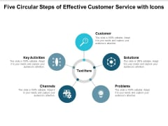 Five Circular Steps Of Effective Customer Service With Icons Ppt PowerPoint Presentation Styles Influencers