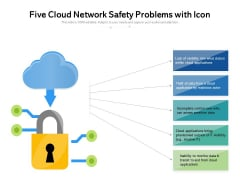 Five Cloud Network Safety Problems With Icon Ppt PowerPoint Presentation File Pictures PDF