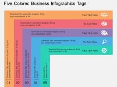 Five Colored Business Infographics Tags Powerpoint Template