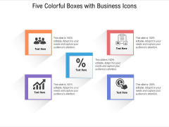 Five Colorful Boxes With Business Icons Ppt PowerPoint Presentation File Show PDF