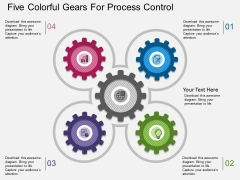 Five Colorful Gears For Process Control Powerpoint Template