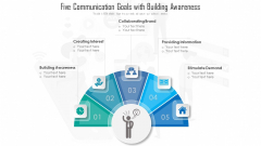 Five Communication Goals With Building Awareness Ppt PowerPoint Presentation File Shapes PDF