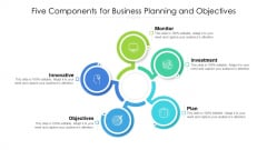 Five Components For Business Planning And Objectives Ppt PowerPoint Presentation Gallery Outfit PDF