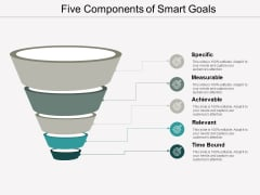 Five Components Of Smart Goals Ppt Powerpoint Presentation Portfolio Grid
