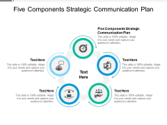 Five Components Strategic Communication Plan Ppt PowerPoint Presentation Pictures Design Templates Cpb