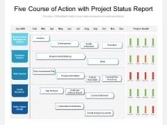 Five Course Of Action With Project Status Report Ppt PowerPoint Presentation Show Introduction PDF
