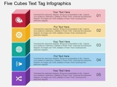 Five Cubes Text Tag Infographics Powerpoint Template