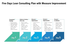Five Days Lean Consulting Plan With Measure Improvement Ppt PowerPoint Presentation Professional Elements PDF