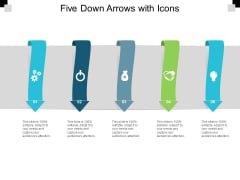 Five Down Arrows With Icons Ppt PowerPoint Presentation Outline Graphics