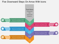 Five Downward Steps On Arrow With Icons Powerpoint Template