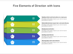 Five Elements Of Direction With Icons Ppt PowerPoint Presentation File Guide PDF